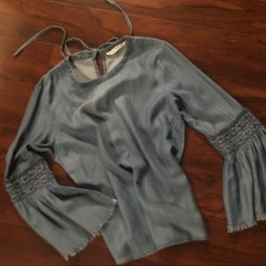 Boho denim top with ruched sleeves